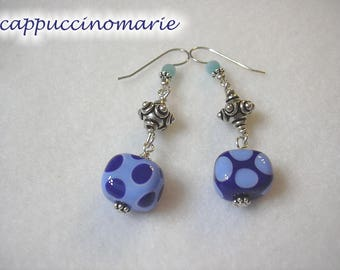 Blue Dots - sterling, lampwork polkadot earrings