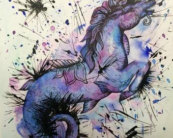 Hippocampus Mermaid Carousel Horse Original Watercolor and Ink Painting