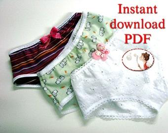 Sewing pattern for girls panties, underwear pattern, toddler panties, pdf pattern, baby undies, diy kids underwear, instant download pdf