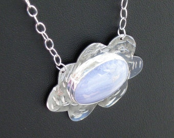 Happy Little Cloud Necklace in Sterling Silver and Blue Lace Agate