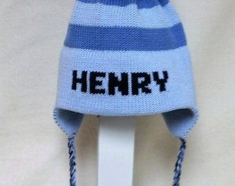Ear Flap Hat with stripes Name and Giant pom pom