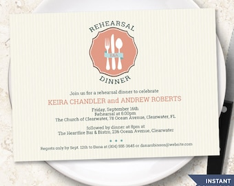 Pinstripe Classic Cutlery Rehearsal Dinner Invitation Template, Instant Download Editable PDF