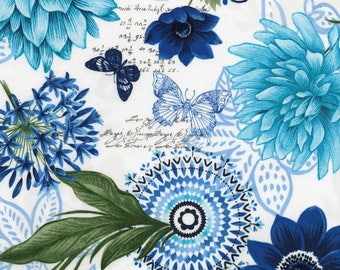 Aqua, Dark Blue, White, Medalion Floral, Butterfly Grotty, Timeless Treasures (By YARD)~