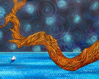 Seascape Sailboat night sky azure sea tree Ocean Print Shelagh Duffett
