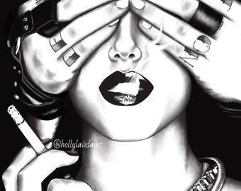 Blinded 8x10 or 11x14 Original Painting Illustration Art Print Female Male Hands Noir Smoking Fashion Editorial Art