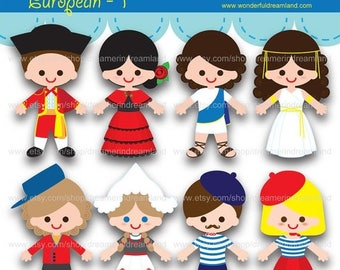 50% OFF Children of the World European Countries 1 - PDF PNG Instant Download Printable Clipart Clip Art Digital File
