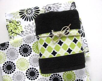 Lime Green, green and black, lime green towel, black towels, bathroom, hand towel, august ave, bathroom decor, towel bar, bath, butterfly