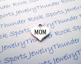 MOM CHARM, Antique Silver, heart, MOTHER Pendant, mom jewelry, family, mother's day, mom's birthday