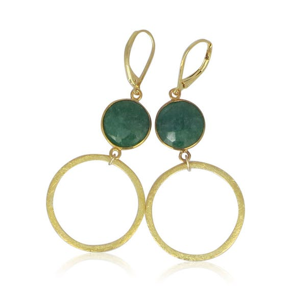 Gold Emerald Hoop Earrings