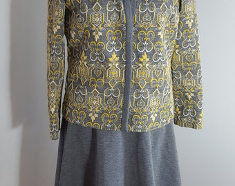 Vintage Kay Windsor 1960s 2 Piece Secretary Dress Size M Gray Yellow Paisley Sheath  9638