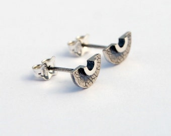 Crescent studs sterling silver half moon studs