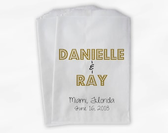 Names in Lights Favor Bags - Black and Gold Custom Candy Buffet Favor Bags for Wedding, Birthday, Shower - Set of 25 Paper Treat Bags (0212)