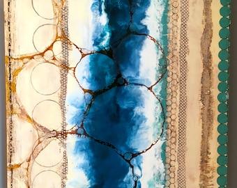Original encaustic painting- Turquoise Strip