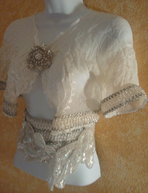amp; Club Embroidered Party Bohemian Shrug Cute Bridal Jacket Top Evening Cropped Bolero Chiffon Sexy 4AwqqndH