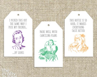 6 Funny Wine Tags - Instant Download Printable