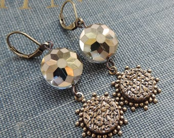 Button Earrings / Filigree Earrings / Crystal Earrings / Mirror Button / AB Crystal Earrings / Dangle Earrings / Reversible Earrings