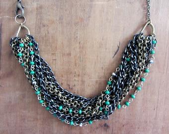 Black multi strand bib statement necklace, Black metal bib necklace, Multi stand metal chain bib necklace