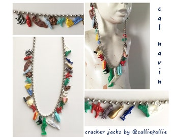 Ball Chain Cracker Jack Necklace Collectables Vintage 1920's-1950's Fashion Charms Prizes