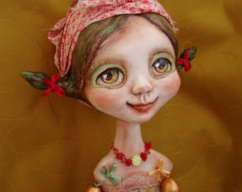 "Summer girl art doll - Big eyed country girl - Ooak interior poseable doll - Collectible doll as gift - ""Mushroom & Daisy"""