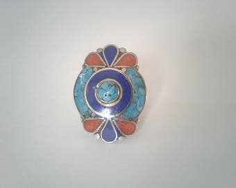 Tibetan Silver, Turquoise, Red Coral, and Azurite Ring