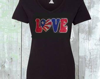 Love Flag USA Sequins Shirt