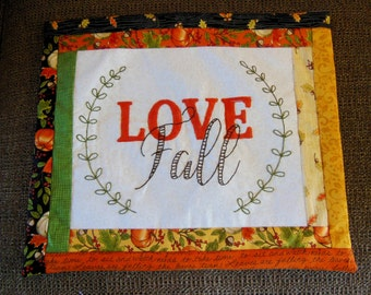 """Hand Embroidered """"Love Fall""""  Pillow"""