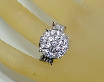 Sale White Sapphire Ring - Engagement - Wedding - Round Cluster - SALE - Sterling Silver -  Size 7.5,Pave'