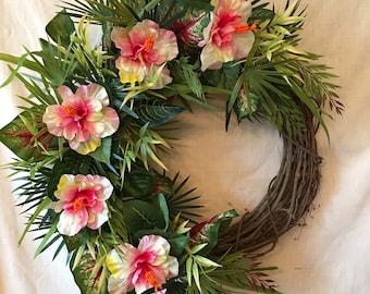 Genial Tropical Wreath   Beach Wreath   Summer Wreath For Front Door   Greenery  Wreath For Front Door   Summer Wreath   Hibiscus Wreath   Wreaths