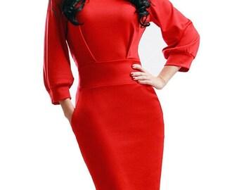 Red dress  Occasion dress knee dresses Elegant red dress Spring dress Autumn dress for women Business woman dress evening red dress