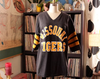 vintage Missouri Tigers t-shirt with striped sleeves . v-neck tee pullover