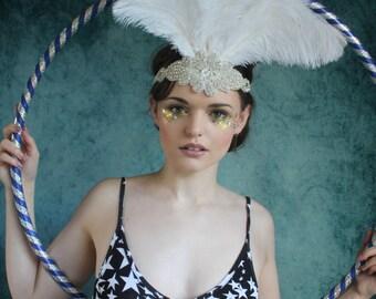 Cream beaded flapper hairband, rhinestone sash, beaded applique headpiece