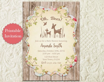 Oh Deer Baby Shower Invitation, Woodland Baby Shower Invitation, Little Deer Hunting Girl Boy Gender Neutral Rustic Baby Shower Invitation