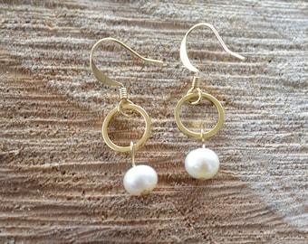 Tiny Karma and Pearl Drop Earrings - Geometric Circle Earrings with Freshwater Pearls - Minimalist and Dainty Earrings