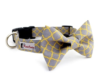 Gray and Yellow Quatrefoil Pattern Dog Collar (Grey and Yellow Dog Collar Only - Matching Bow Tie Available Separately)
