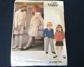 Little Vogue Pattern Child's Suit 1313 Size 3 Uncut,  Boys' And Girls' Jacket Skirt Pants Shorts