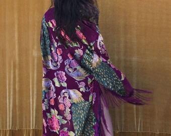 Burnout Velvet Kimono with Fringe, Bridal Robe, Piano Shawl, Purple