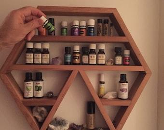 Hexagonal wall-hung shelf