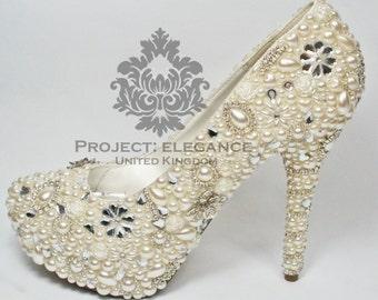 "Evelina - Ivory Pearl, Crystal & Swarovski Elements 5"" Inch Stiletto High Heel Shoes US Size 5 6 7 8 9 10"