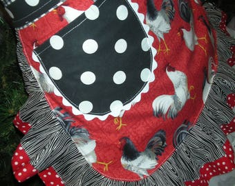 Aprons - Womens Chicken Aprons - Chicken Fabric Aprons - Black Dots Aprons - Annies Attic Aprons - Red Aprons - Waitress Chicken Aprons