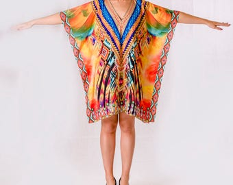 Rainbow Gathering Kaftan / short kaftan, dress, resort wear