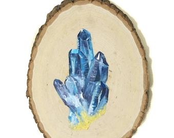 Crystal Painting on Wood, Boho Crystal Painting, Art Decor, Wood Art, Original Painting