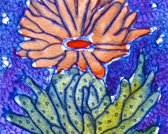 "Bergen Art 4 Original Watercolor Paintings Cactus at Night Fancy Folk Artist 4"" x 6"" Each"