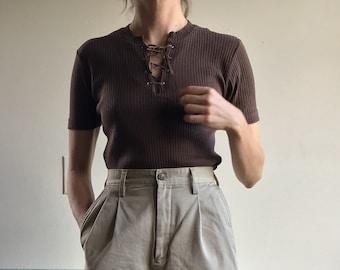 Vintage Italian Cotton Shirt   Lace Up Tee   Minimal Ribbed T-Shirt