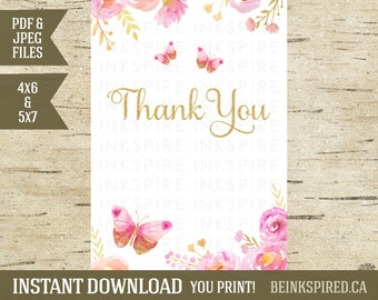 Pink Gold Watercolor Flower Floral Butterfly Thank You Card, Butterfly Invitation, Printable Thank You Card Note, JOCELYN, INSTANT DOWNLOAD