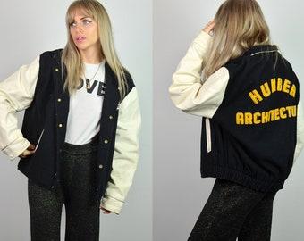Vintage 70s Black & White Leather American Varsity Jacket
