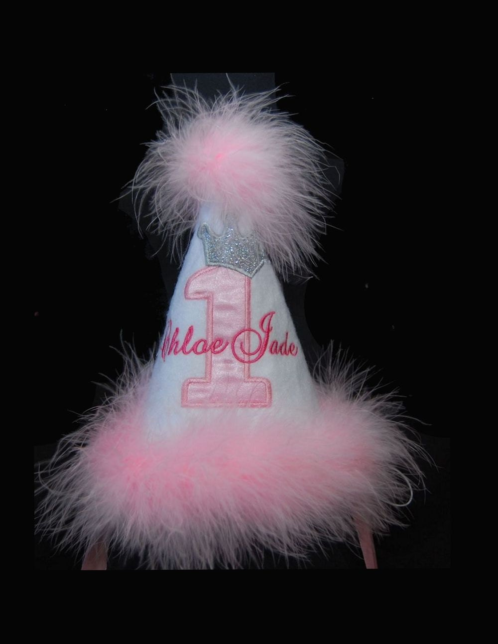 Pink And Silver Birthday Hat With Crown Marabou Trim