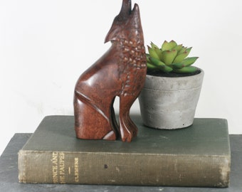 Howling Wolf Figurine - Carved Ironwood / Dense Wood Animal