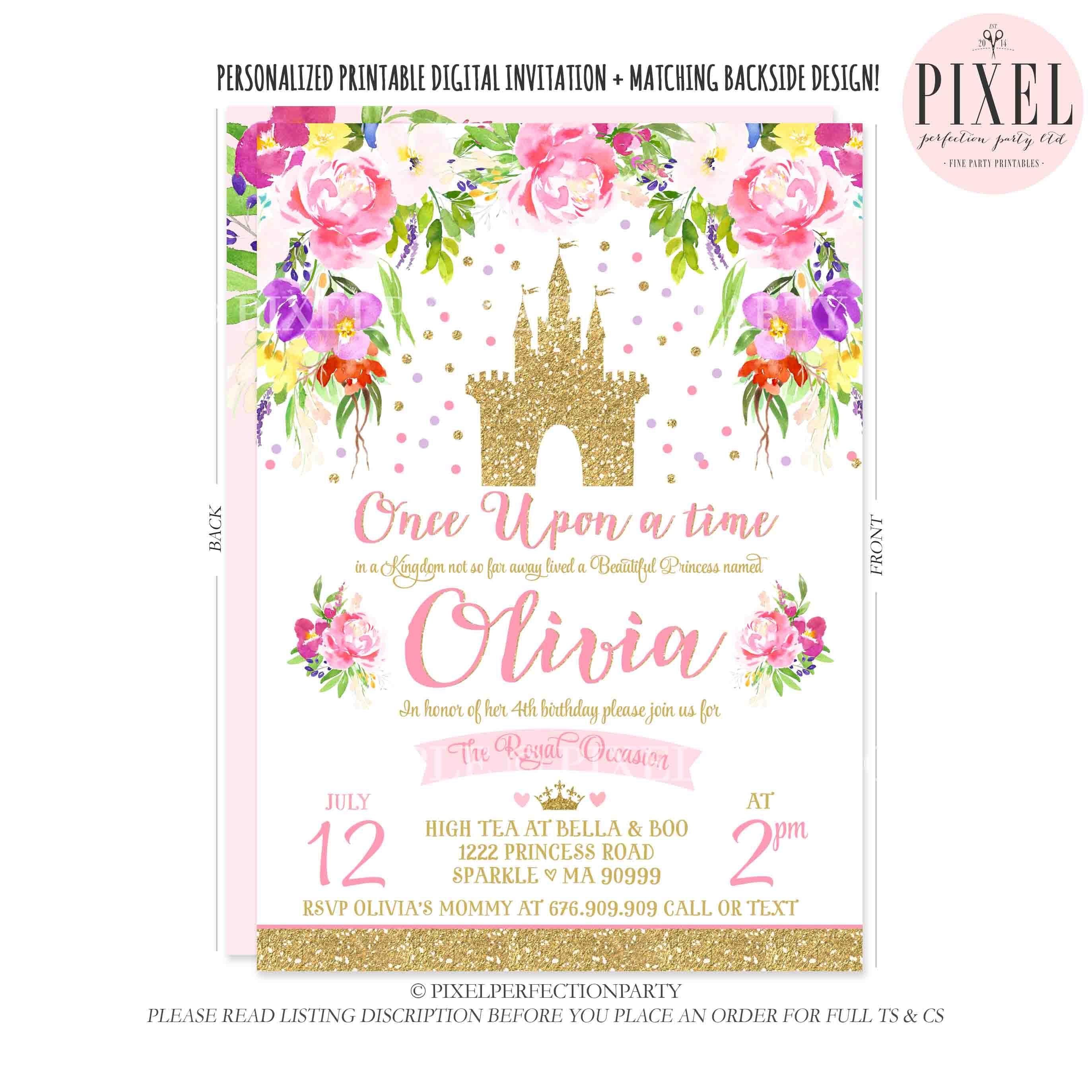 Princess Birthday Invitation Pink Gold Princess Castle