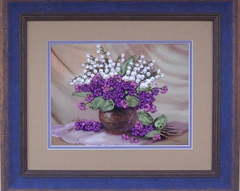 Violets silk ribbon 3d dimensional flowers embroidery DIY kit wall hanging artwork craft set