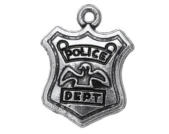 2 Police Charms, Antique Silver Tone (1K-98)